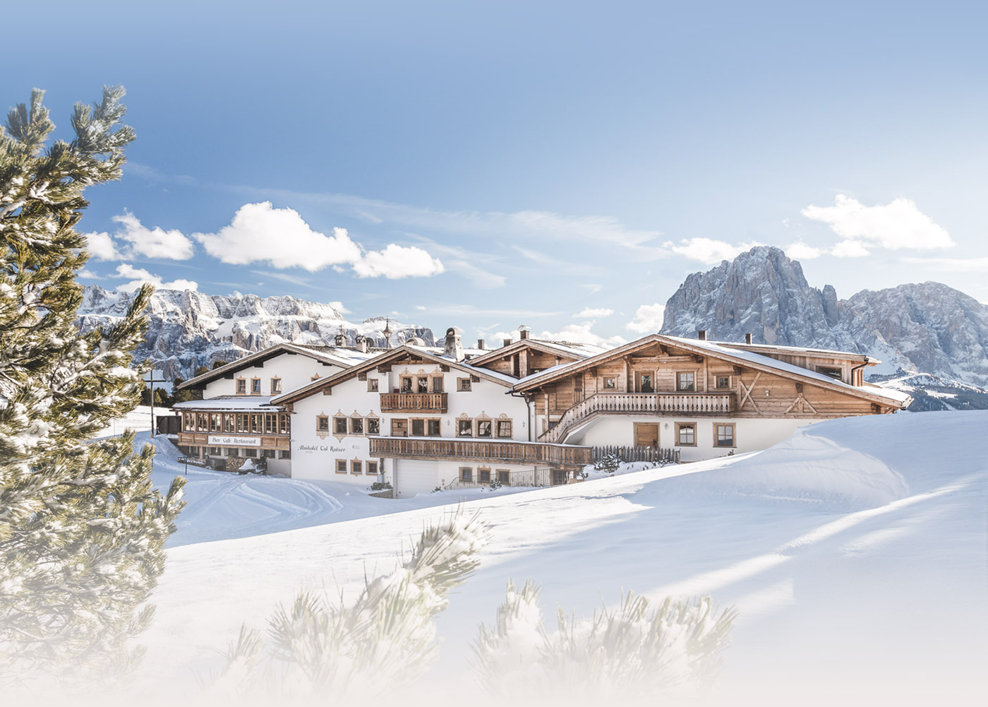 Picturesque winter landscape skiing holiday Dolomites Val Gardena